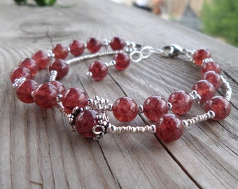 Lepidocrocite with Sterling Silver and Thai Fine Silver Double Strand Bracelet