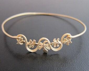 Flower Ribbon Bracelet, Vine Bracelet, Flower Bracelet, Flower Jewelry, Grape Vine Jewelry, Gold Leaves, Grape Leaf Jewelry, Ribbon Jewelry