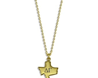 Delta Gamma State Necklace // Sorority Jewelry // Sorority Gifts // Big Little Sis Gifts / DG Necklace / DeeGee Jewelry / Delta Gamma Gifts