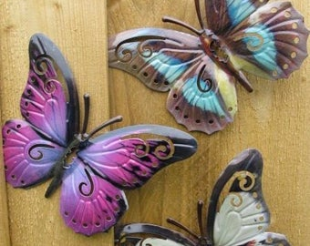 Garden Butterfly Wall Art SET OF THREE Garden Butterfly Ornaments