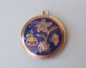 Lovely Vintage Chinese Pendant with Cobalt Blue and Cloisonne Flowers