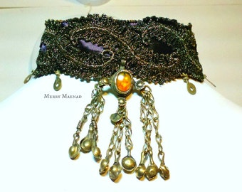 Metallic lace choker with Kuchi pendant. Tribal fusion belly dance necklace. OOAK Ethnic jewelry.