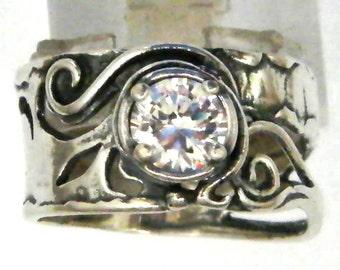 Sterling silver ring set with zircons stones. Israeli designer bohemian ring
