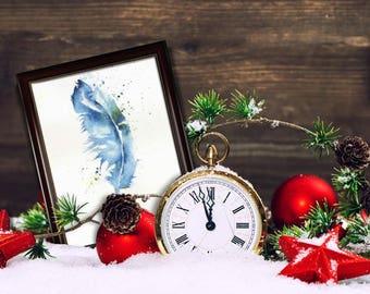 Original watercolor, pen, handmade Christmas gift, decoration