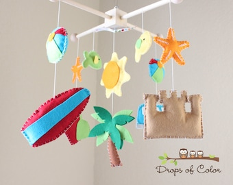 Baby Crib Mobile, Baby Mobile, Beach Surf Mobile, Ocean Fishes Crib Mobile, Summer Vacation, Ceiling Mobile, Gift, Felt (Customize Colors)