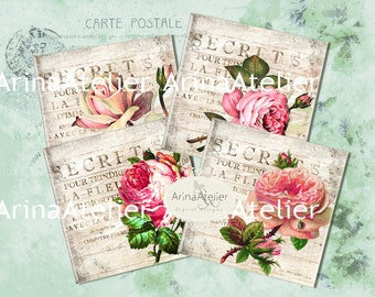 Antique Roses -  coaster - 4 x 4 inch - set of 4 cards - Digital Download Sheet - Digital tags