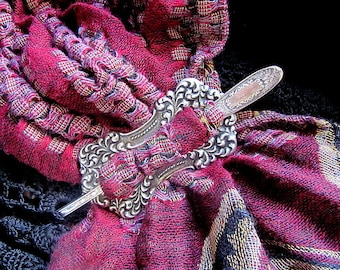 Silver Rococo Elegance Mildred Shawl Pin and Ring Set