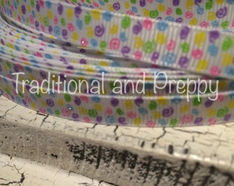 "3 yards 3/8"" Spring Easter Silly Glitter SWIRL  Grosgrain Ribbon"