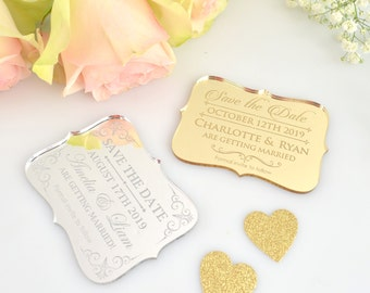 100 x Engraved Acrylic mini 'Save the Date' Wedding Stationary