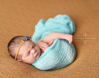 Baby Blue Mohair Knit Wrap Newborn Photography