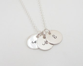"""Tiny Sterling Silver Initial Necklace - 3/8"""" Initial Discs - 3 Initials - Hand Stamped Mommy Necklace - Triple Initial Necklace"""