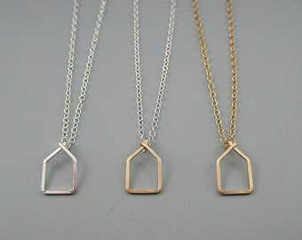 Home Necklace - geometric house in silver and gold, gift for wife, mom, or girlfriend, real estate jewelry