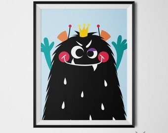 Quirky Art Monster Inspiration Monster Print Black Funny Monster Whimsical Art Playroom Wall Art Prints Funny Decor 11x14 Instant Download