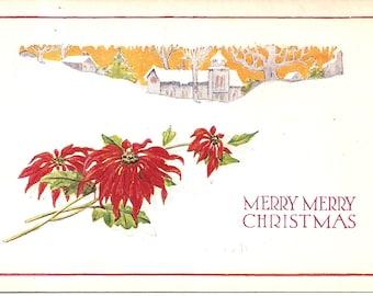 Vintage 1920's Postcard -  Merry Merry Christmas - Unused