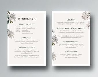 Info map/inserts for wedding invitation printables | PDF