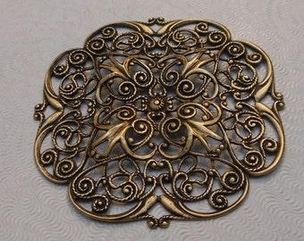 LuxeOrnaments Large Oxidized Brass Filigree Focal 47mm Dapped (1 pc) F-8287-B