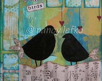 love birds - 8 x 8 ORIGINAL COLLAGE by Nancy Lefko