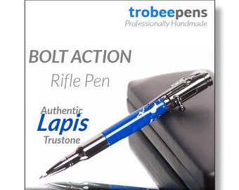Handmade Bolt Action Pen  Handcrafted bullet pen ballpoint made on a lathe with authentic Lapis Trustone polished chrome parts with pen case