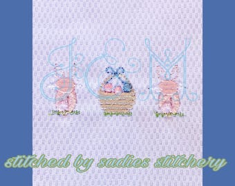 Easter Basket and Bunny Bullion Mini Machine Embroidery Design