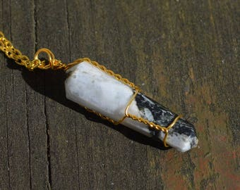 Wire Wrapped Rainbow Moonstone Point Necklace