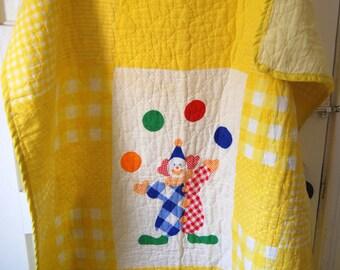Vintage Baby Blanket, Circus Clown