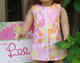 """American Girl or 18"""" doll shift dress made with upcycled Lilly Pulitzer fabric"""