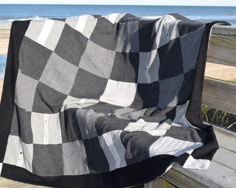 Shades of Grey Valentines Day Love Cashmere Blanket Throw Quilt with Mother of Pearl Accents