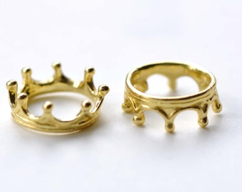 Shiny Gold Crown Ring Small Charms Pendants 6x17mm Set of 10  A8077