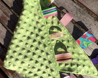 Ribbon Burpie / Minky Burp Cloth: GREEN GIRLY Color Scheme, Personalization Available