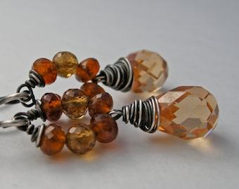 spessarite garnet earrings, cubic zirconia earrings, gemstone earrings, handmade earrings