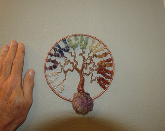 6 Inch Chakra on Amethyst Flower # 849 Wall Hanging Gem Tree
