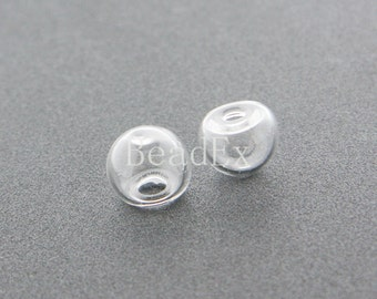 6pcs / Hand Blown / Hollow Glass Beads / Half Circle / Cover / Clear 10x12mm (49H23/G209)