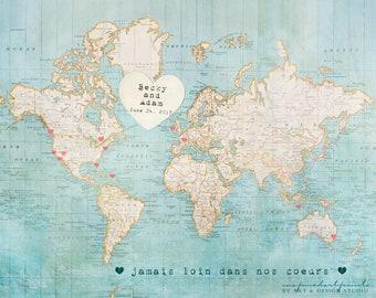 Wedding Guestbook, Alternative Wedding Guest Book, Signing Board, Wedding Decoration, World Map, Destination Wedding, Travel Map Art Print