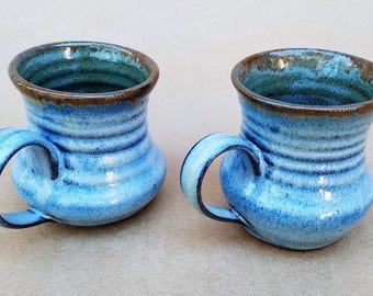 Pair of stoneware mugs, Wheel-thrown hot chocolate mugs, Eggnog mugs