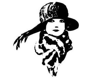 large Woman with Scarf and Hat Flapper-style unmounted rubber stamp, art deco, fashion, people, person, lady, Sweet Grass Stamps No.2