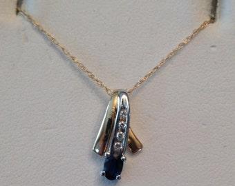 "Vintage 14k tt Ribbon Pendant with an Oval Sapphire & 4 Diamonds .39 tw on 18"" fine chain"