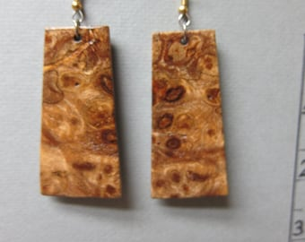Exotic Wood, X Large Dangle Earrings Gmelia Burl ExoticWoodJewelryAnd handcrafted ecofriendly