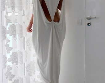 White dress, White kaftan, backless dress, Maxi dress, Caftan, Abaya, Summer maxi dress, Cover up dress, extravagant dress, 133.143