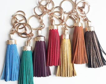 Leather tassel key chain clip plated gold