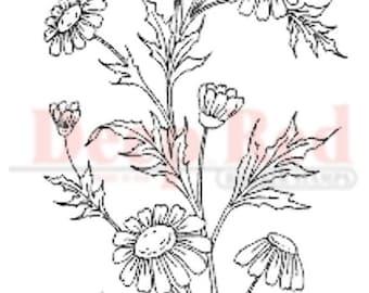 Deep Red Rubber Stamp Wildflowers Cluster Garden Botanical