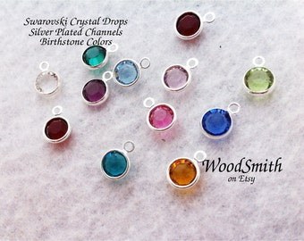 Swarovski Crystal Birth Stone Drop, Silver Plated Channel,  Birthstone jewelry, for necklace, earrings