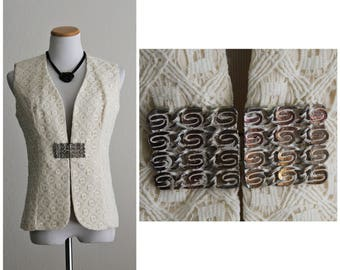 Vintage 60's 1970's Cream Needle Crochet Lace Fancy Vest Jacket with Heavy Mod Copper Handmade Metal Closure