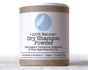 Organic Dry Shampoo Powder with Palmarosa, Grapefruit & Clary Sage. Talc-free. 85g.