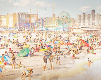 Colorful Beach Photography // Beach Photography // Coney Island Beach Brooklyn // Beach People Print // Oceanside New York  - Peeps Dips 3