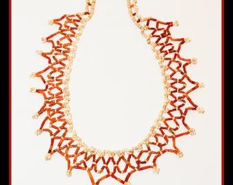 Sponge Coral Heishi Lattice Necklace