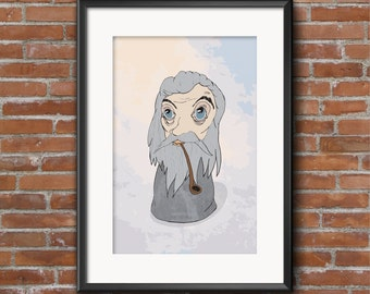 Gandalf / LOTR / A4 / Illustration / Poster/ Home Decor / Funny / Pop Culture / Wall Art / Gift / Lord of the Rings / Tolkien