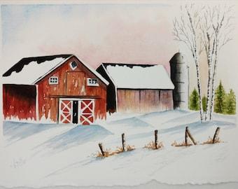 Winter Barn Snow Watercolor