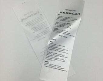 150 Custom Printed Fabric Labels ,Satin Folded Care Label, Black Printed on white satin