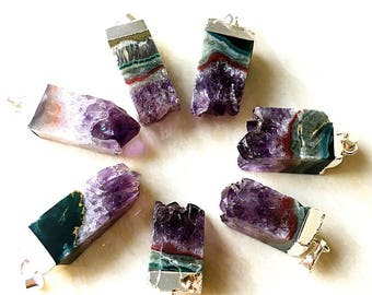 SALE Natural Amethyst druzy Rectangle Pendant With Silver Plated, Silver Amethyst Pendant, Wholesale Price 1, 5, 10