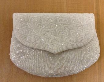 Vintage White Beaded  evening bag Shoulder Strap